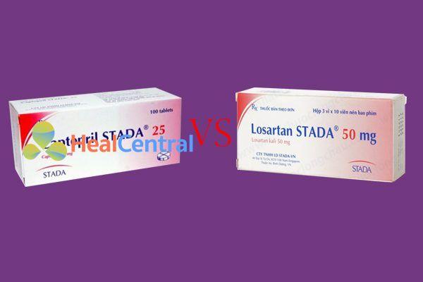 So sánh losartan với captopril
