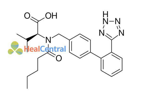 Cấu trúc hóa học của valsartan.